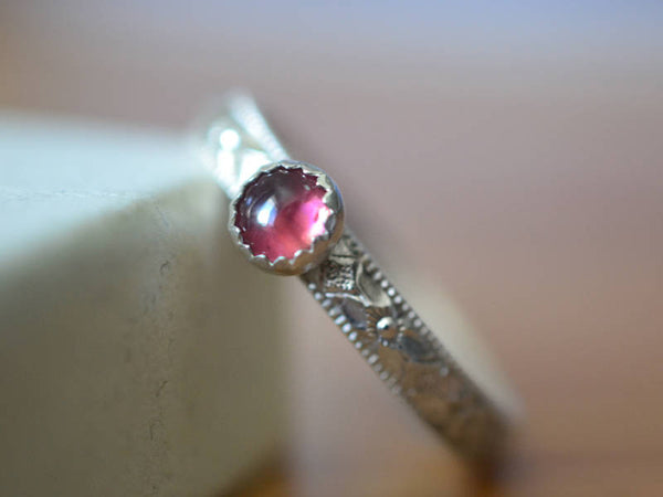 Personalised Floral Silver 4mm Pink Tourmaline Poesy Ring