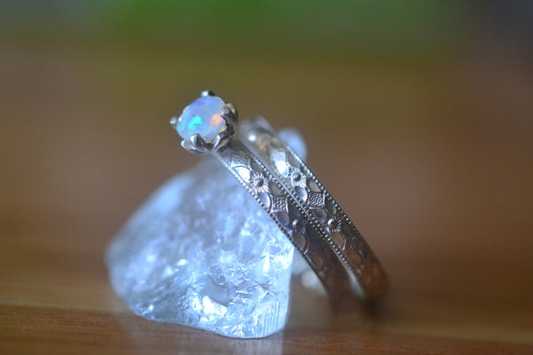 Women's Ethiopian Opal Wedding Band Set in Floral Silver