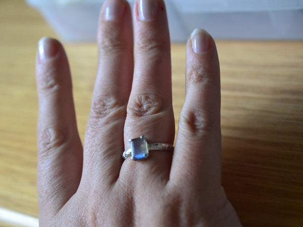Women's Unique Personalised Labradorite Ring in Sterling Silver