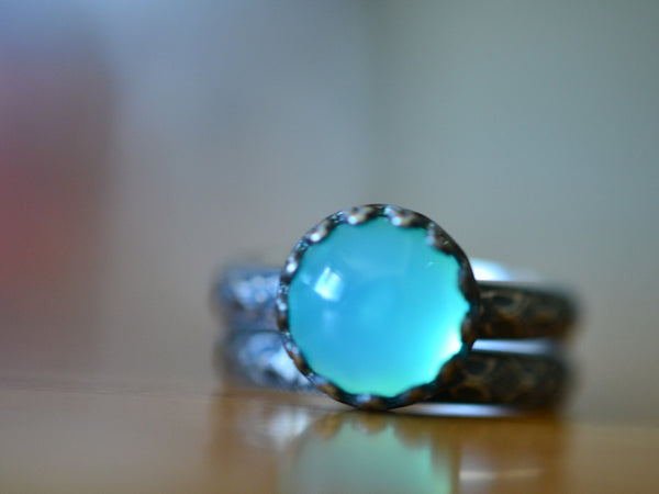 Gothic Oxidized Silver Peruvian Blue Opal Engagement Ring Set