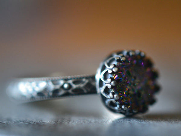 Oxidized Silver Victorian Floral Style Rainbow Druzy Ring