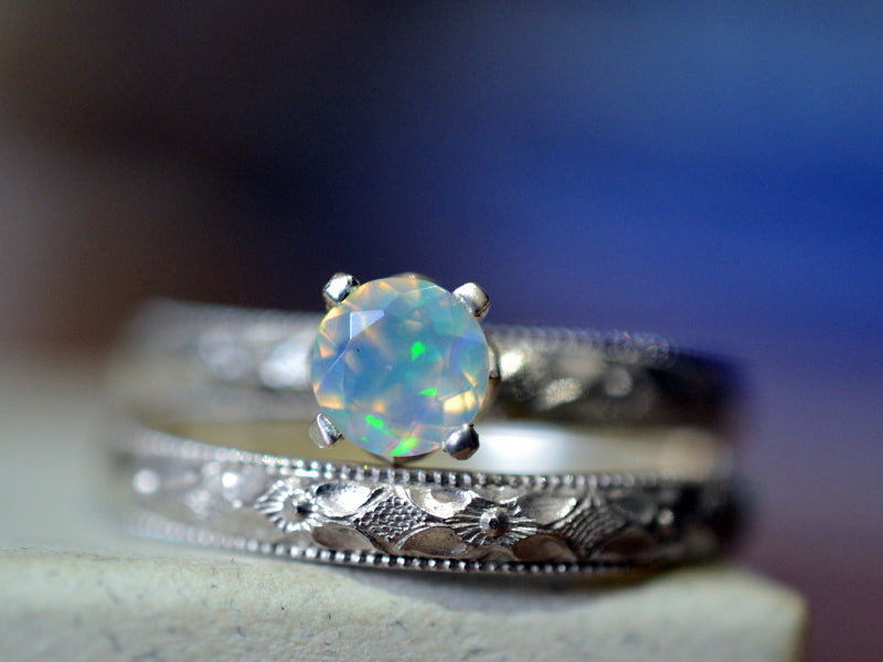 victorian style floral silver welo opal wedding ring set - Opal Wedding Ring Sets