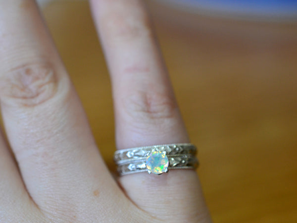 Personalized Welo Opal Engagement Ring Set in Floral Silver