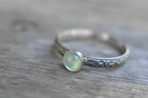 Natural Green Prehnite Ring in Oxidised Silver