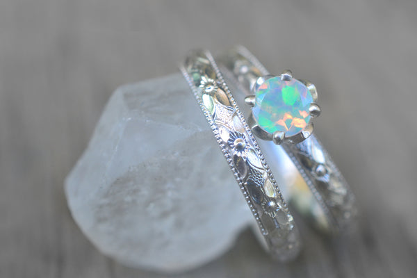 Welo Opal Bridal Ring Set in Victorian Style Silver