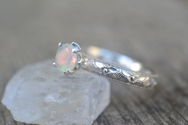 Womens Opal Engagement Ring in Silver
