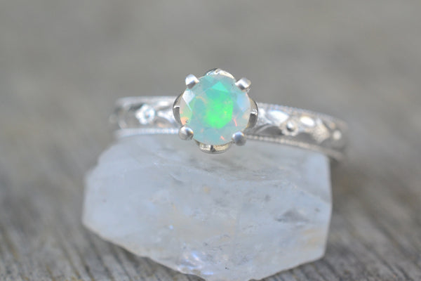 Natural Welo Opal Engagement Ring in Floral Silver