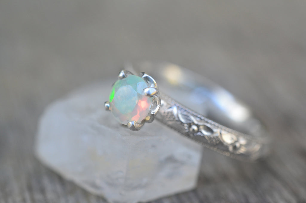 Victorian Style Welo Opal Engagement Ring in Silver