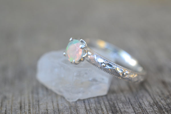 Ethiopian Welo Opal Ring in Victorian Style Silver