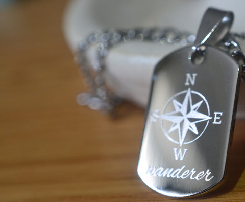 Personalised Traveller Dog Tag Necklace in Stainless Steel