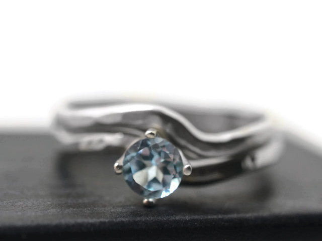 Wavy Sky Blue Topaz Wedding Set