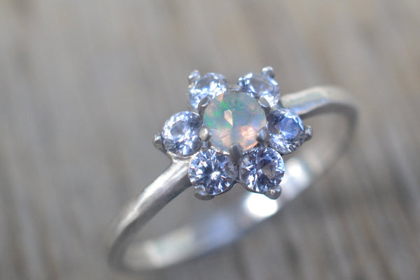 Cluster Engagement Ring With White Sapphire & Welo Opal