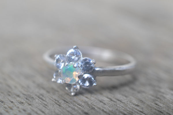 Multistone Engagement Ring With Welo Opal & White Sapphire