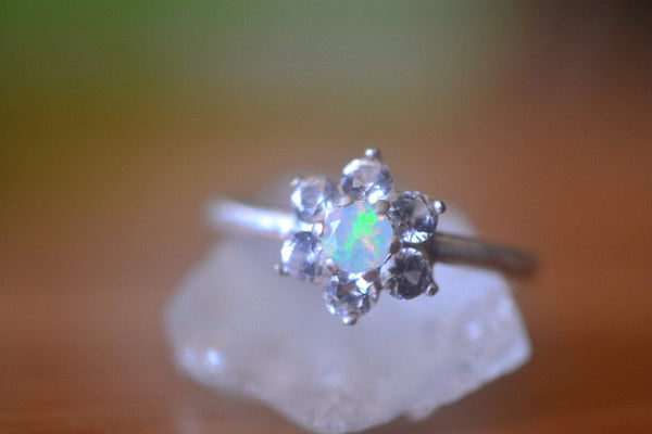 Cluster Engagement Ring With Welo Opal & Sapphire in Silver