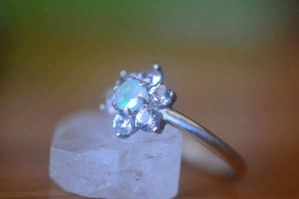 Women's Welo Opal Engagement Ring With White Sapphire Cluster