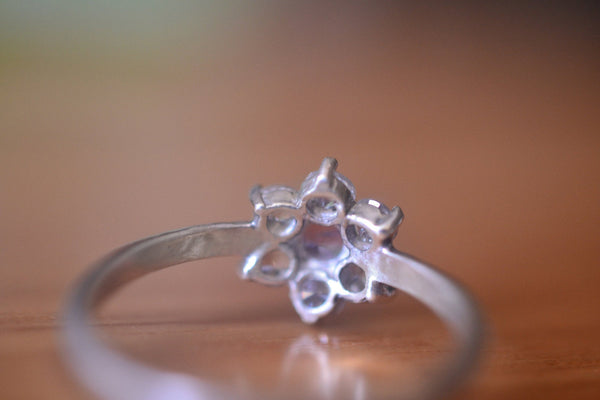 Womens Multi Stone Vintage Style Engagement Ring in Silver