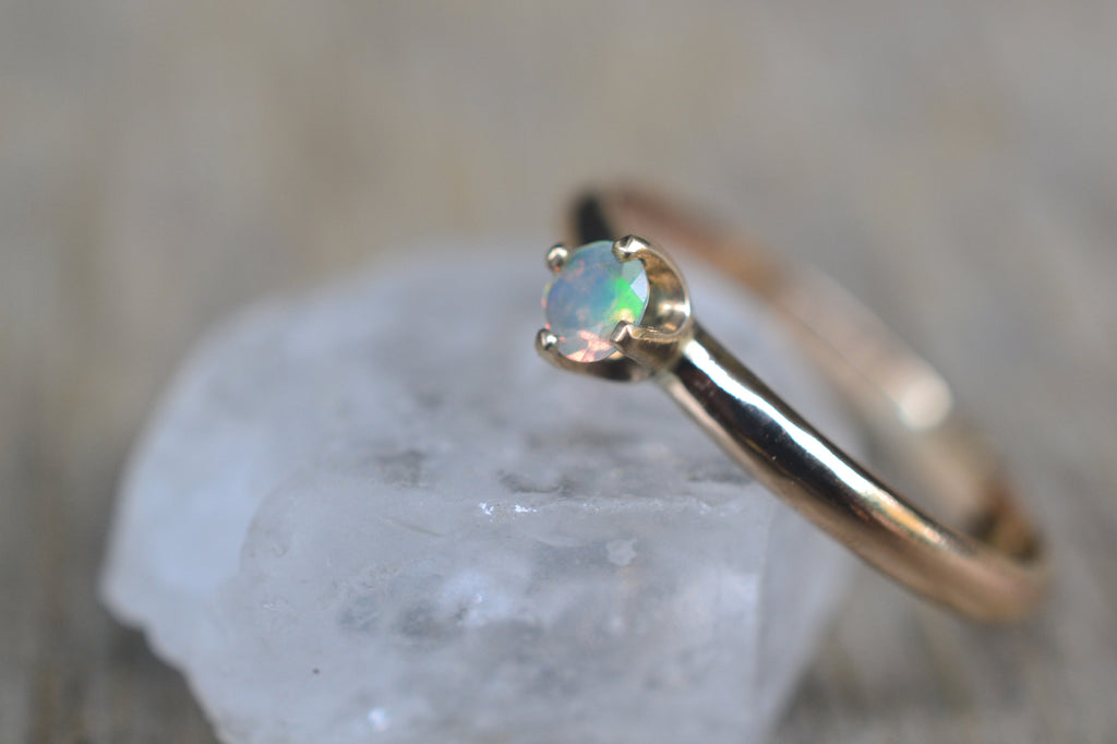 Dainty Welo Opal Engagement Ring in 14K Gold
