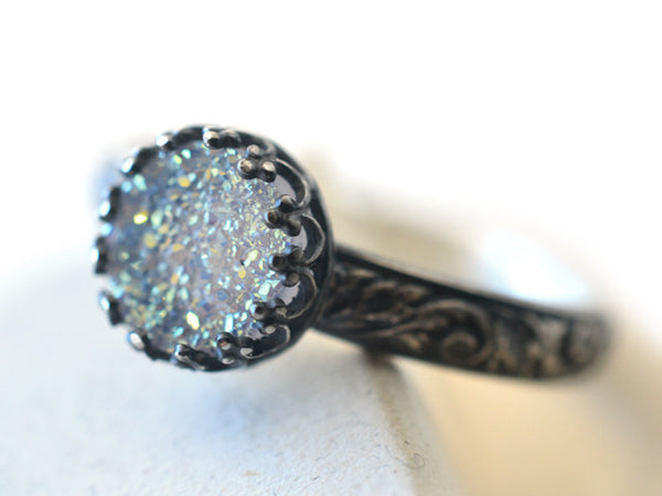 Oxidized Floral Silver & Opal White Druzy Cocktail Ring
