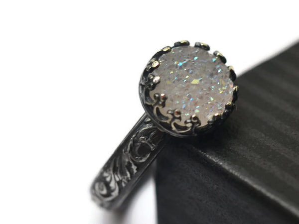 Handmade Oxidized Silver Opal White Druzy Agate Ring