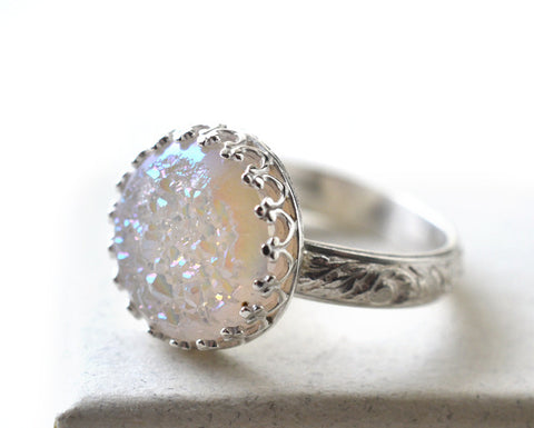 White Druzy Agate Statement Ring, Floral Silver Band, Custom Engraving