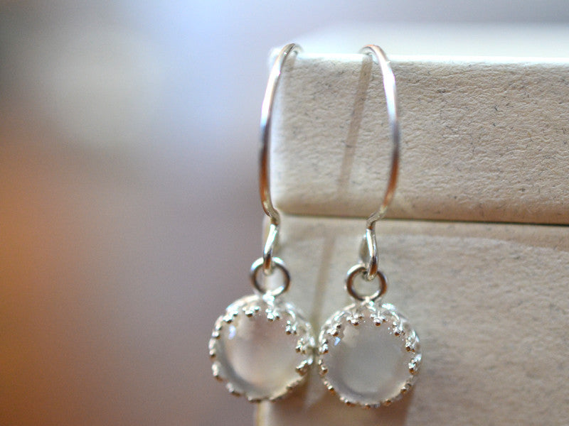 8mm White Moonstone Drop Earrings in Sterling Silver