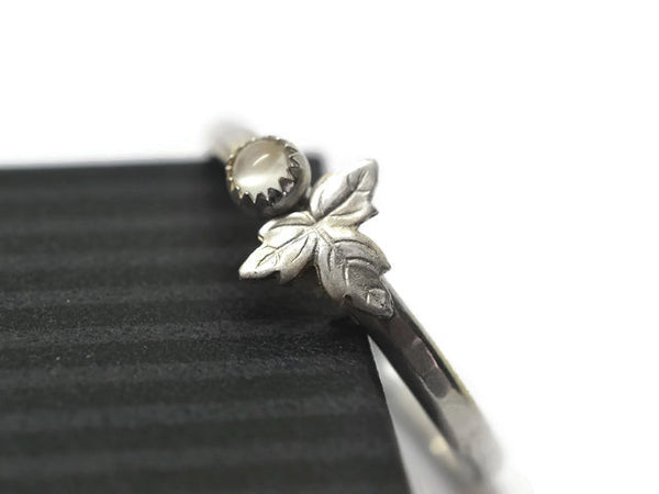 Handmade White Moonstone & Sterling Silver Leaf Ring