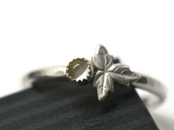 Tiny White Moonstone Gemstone Berry & Silver Leaf Ring