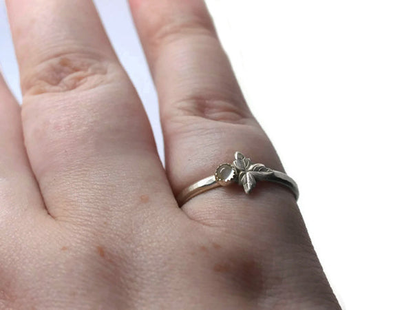Natural White Moonstone Berry & Leaf Ring