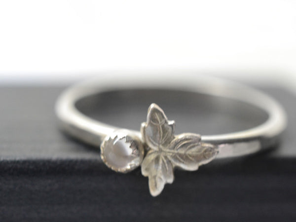 Handmade Sterling Silver Leaf Charm & Tiny White Moonstone Ring