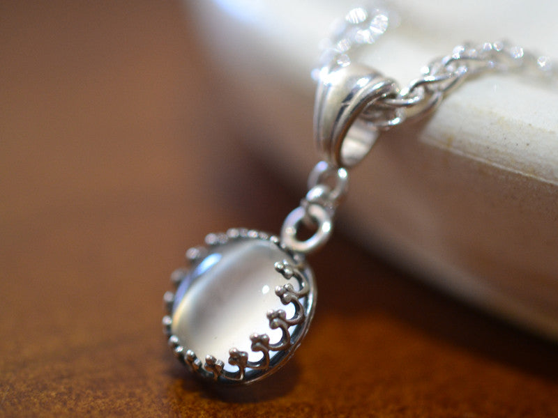 Simple White Moonstone Wedding Necklace