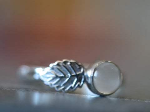 Sterling Silver Leaf Charm Ring With Natural White Moonstone