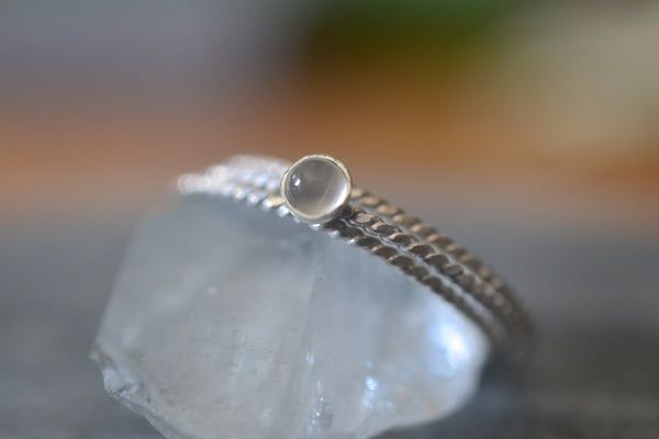 Simple Natural White Moonstone Ring Set in Sterling Silver