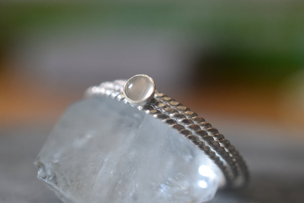 Dainty Natural White Moonstone Crystal Stack Ring Set in Silver
