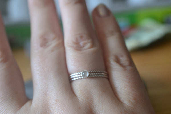 Women's Stacking Ring Set With Natural White Moonstone