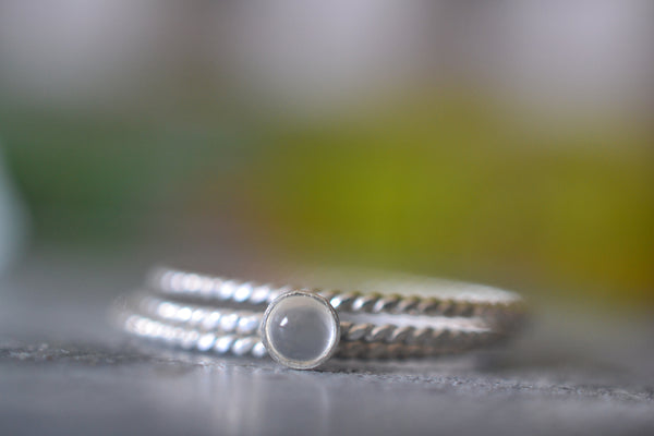 Dainty 3mm White Moonstone Crystal Stacking Ring Set in Silver