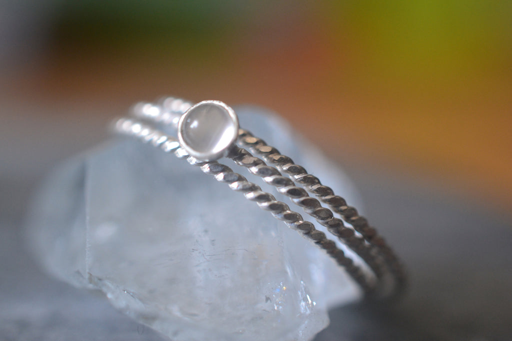 Simple White Moonstone Stacking Ring Set in Sterling Silver