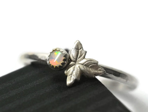 Tiny White Opal Berry & Silver Leaf Ring