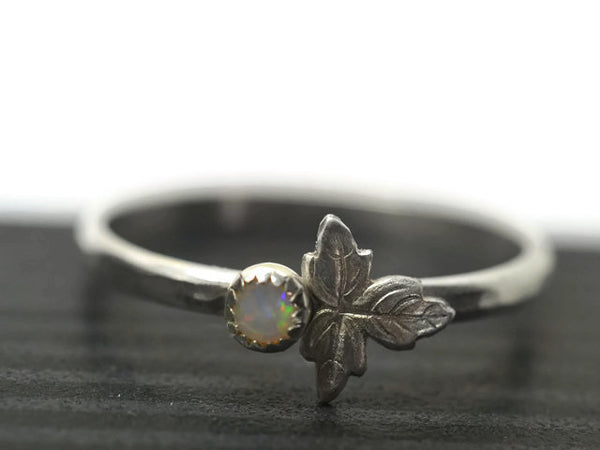 White Australian Opal & Leaf Ring