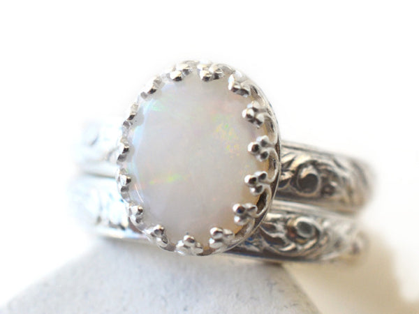 Handforged Sterling Silver & Australian Opal Wedding Set