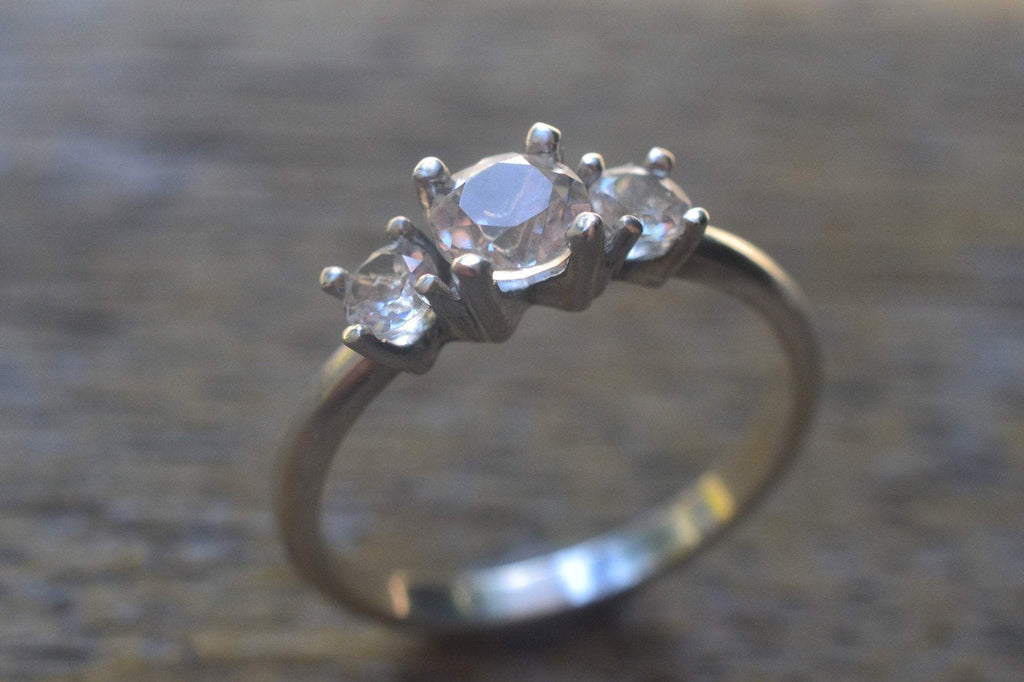 Womens Multistone White Topaz Engagement Ring in Sterling Silver