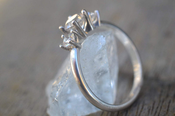 Natural White Topaz Crystal Engagement Ring in Silver