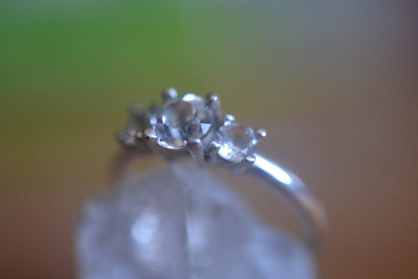 Three Stone White Topaz Engagement Ring For Women in Silver