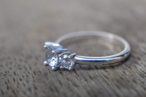 Vintage Style White Topaz Engagement Ring in Sterling Silver