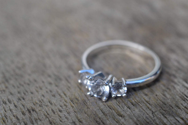 Natural White Topaz Gemstone Cluster Engagement Ring for Women