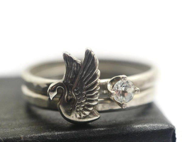 Handmade White Topaz & Silver Swan Stacking Ring Set
