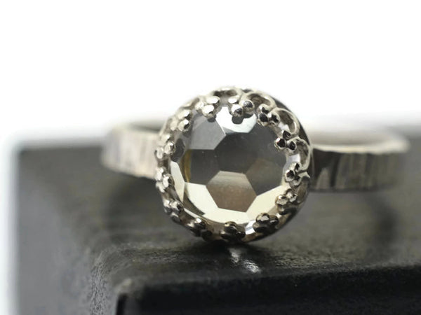Handmade Honeycomb White Topaz Engagement Ring in Silver