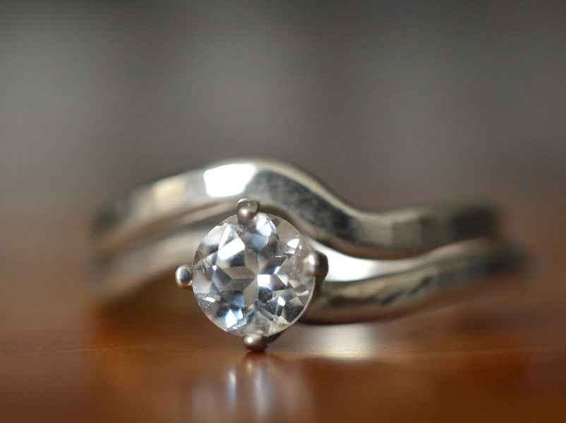 Natural White Topaz Solitaire Engagement Ring & Wedding Band