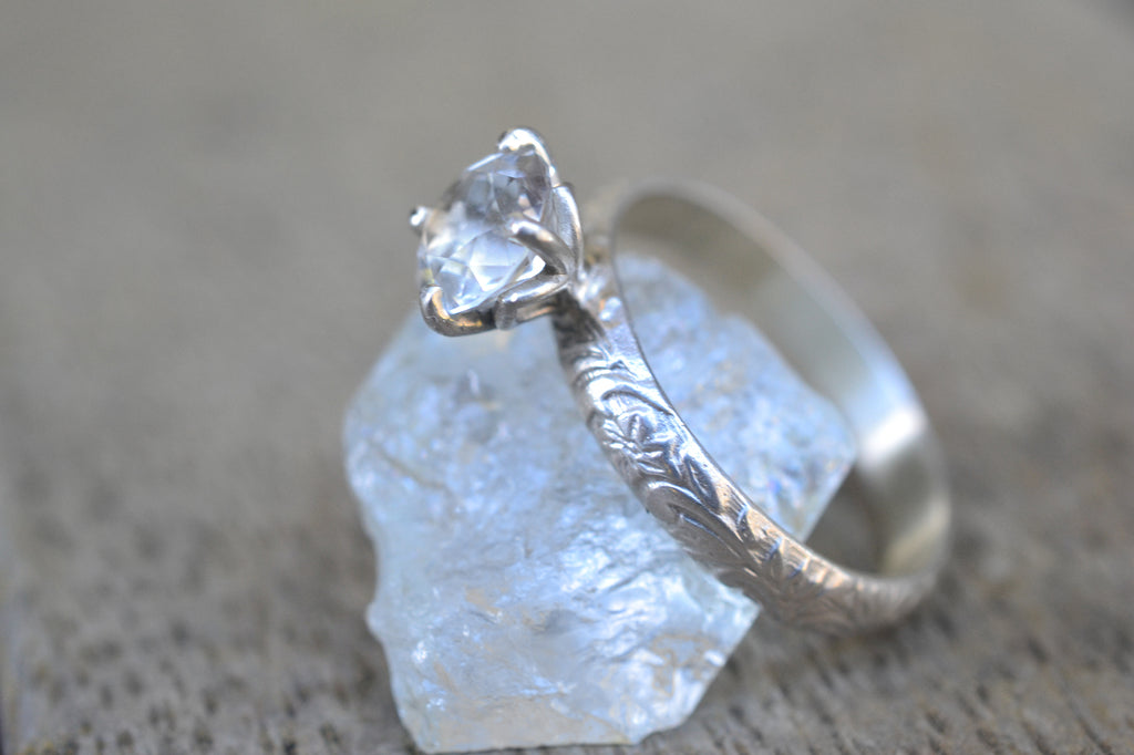 Art Nouveau Style White Topaz Engagement Ring