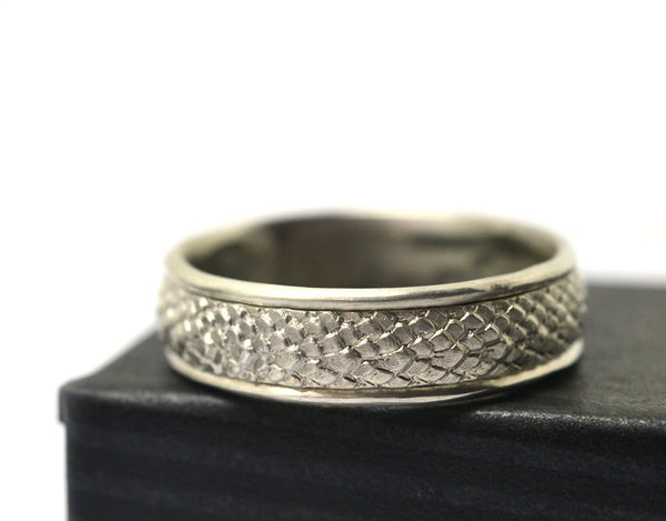 Custom Silver Dragon Scale Fantasy Wedding Band