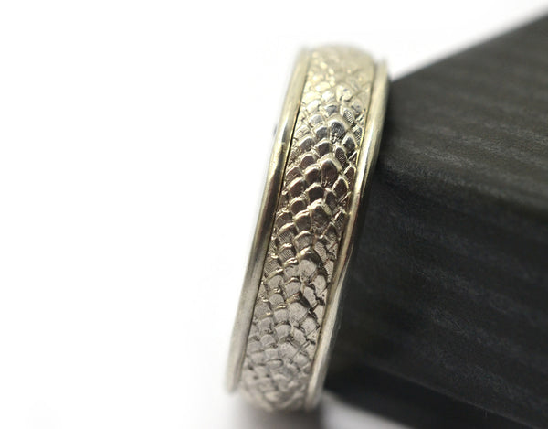 Custom Silver Dragon Scale Wedding Band